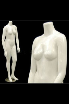 Nanci 1, Fiberglass Plus Size Headless Female Mannequin Gloss White MM-NANCIBW1