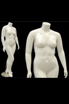 Nanci 2, Fiberglass Plus Size Headless Female Mannequin Gloss White MM-NANCIBW2