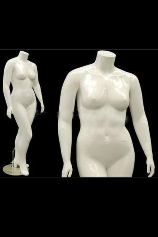 Nanci 2, Fiberglass Plus Size Headless Female Mannequin Gloss White MM-NANCIBW2