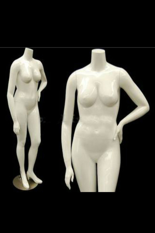 Nanci 3, Fiberglass Plus Size Headless Female Mannequin Gloss White MM-NANCIBW3