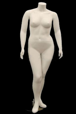 Ashley, Free Shipping Fiberglass Matte White Headless Plus Size Female Mannequin MM-PLUSBW2FS
