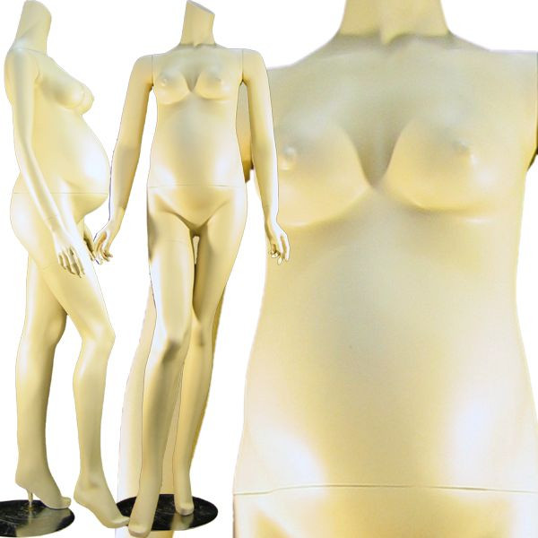 April, Fiberglass Fleshtone Headless Pregnant Female Mannequin MM-129