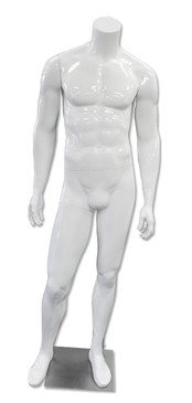 DJ 1, High-End Fiberglass Headless Male Mannequin Glossy White MM-HM80GW