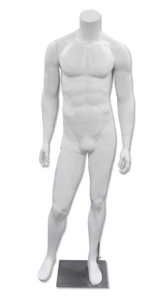 JD 1, High-End Fiberglass Headless Male Mannequin Matte White MM-HM80W