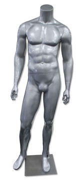 Jay 1, High-End Fiberglass Headless Male Mannequin Glossy Silver MM-HM80GS