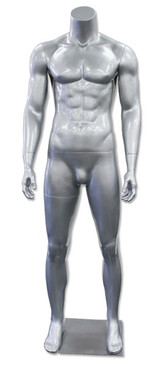 Jay 3, High-End Fiberglass Headless Male Mannequin Glossy Silver MM-HM90GS