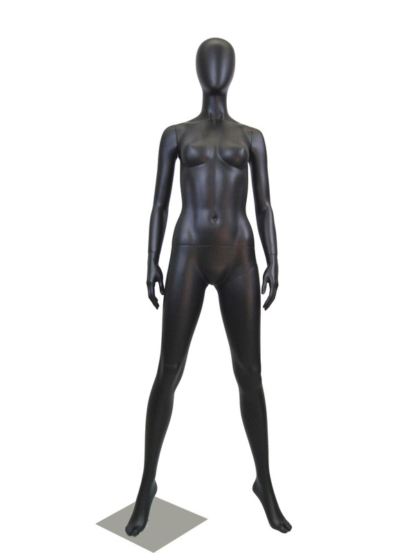 Tanya, Semi Matte Black Abstract Egg Head Female Mannequin MM-GF11BK2