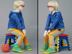 Unisex Realistic Seated Child Mannequin Fleshtone MM-ITA04