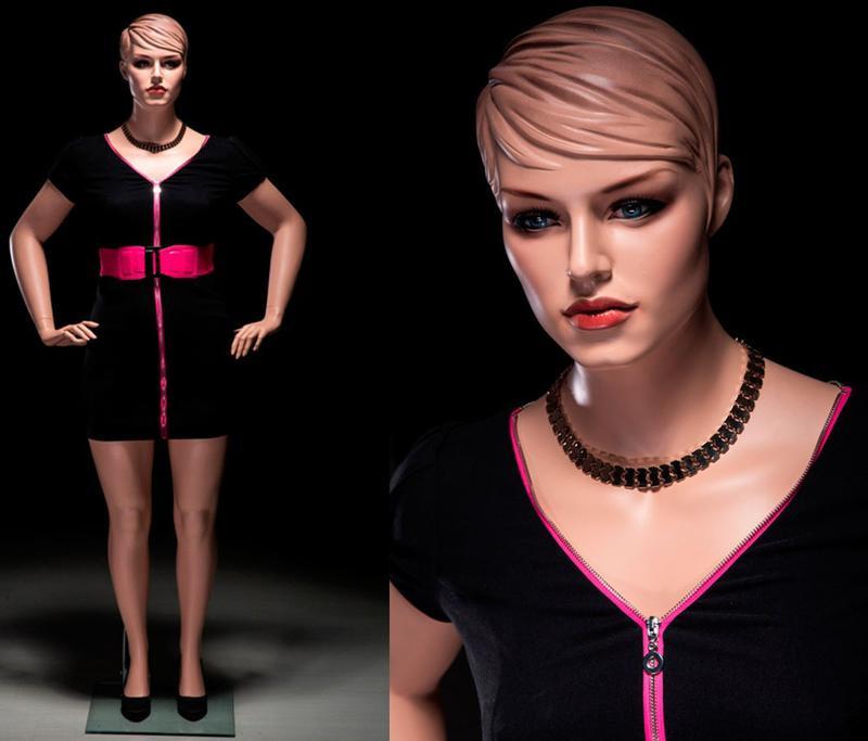 Realistic Plus Size Female Mannequin Fleshtone with Molded Hair MM-AVIS-02