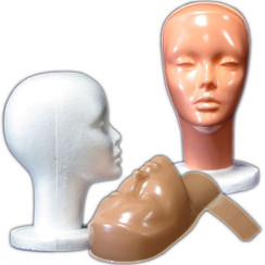2 Female Styrofoam Mannequin Head with Non-Makeup Mask MM-410
