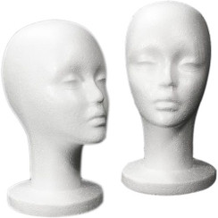 4 White Female Styrofoam Mannequin Head - Long Neck MM-433