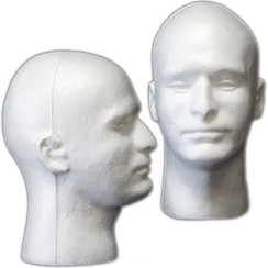 White Male Styrofoam Mannequin Head MM-409