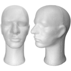 4 White Male Styrofoam Mannequin Head with Long Neck MM-256