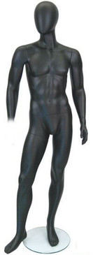 Used Jake, Matte Black Abstract Egg Head Male Mannequin MM-GM53BK2USED02- Missing a Hand