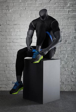 Matte Grey Athletic Headless Male Sitting Mannequin MM-NI-05