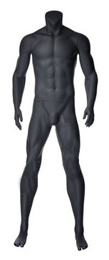 Alex 2, Matte Grey Fiberglass Athletic Headless Male Mannequin MM-NI-02SP