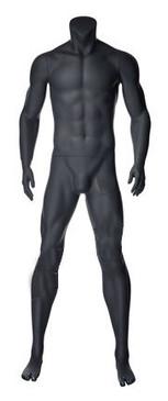 Alex 2, Matte Grey Fiberglass Athletic Headless Male Mannequin MM-NI-02SP