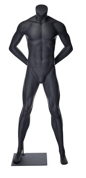 Alex 1, Matte Grey Fiberglass Athletic Headless Male Mannequin MM-NI-01SP