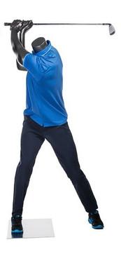 Tiger, Metallic Grey Fiberglass Athletic Headless Male Sports Golfer Mannequin MM-HEF69