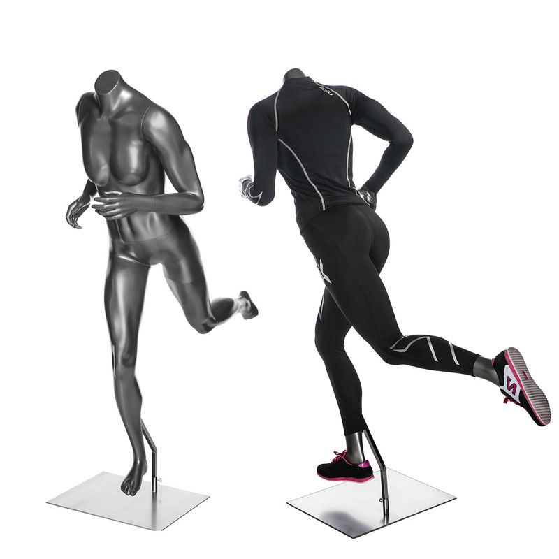 Halle 2, High-End Fiberglass Headless Athletic Running Pose Female Mannequin Metallic Grey MM-HEF64