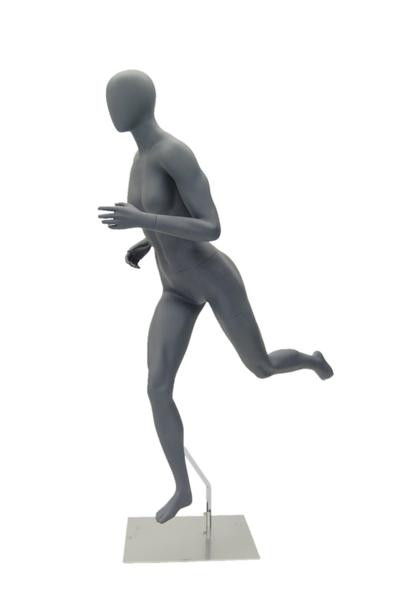 Helen, High-End Fiberglass Egg Head  Athletic Running Pose Female Mannequin Matte Grey MM-HEF64EG