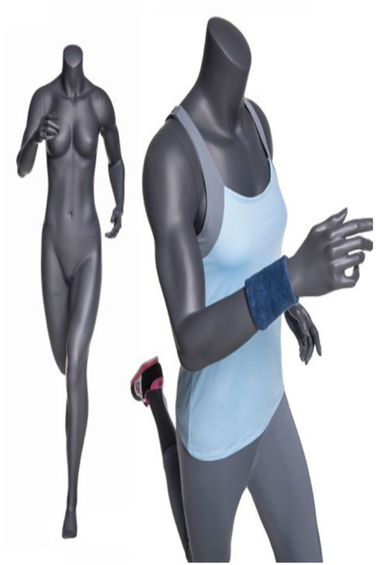 Jackie, Fiberglass Headless Athletic Running Pose Female Mannequin Matte Grey MM-NI-11SP