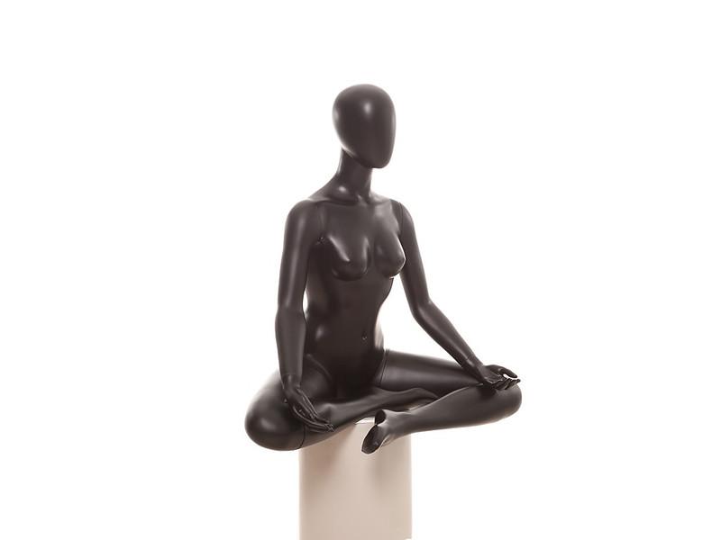 Denise, Matte Black Abstract Seated Yoga Egg Head Female Mannequin MM-YOGA1BKSP