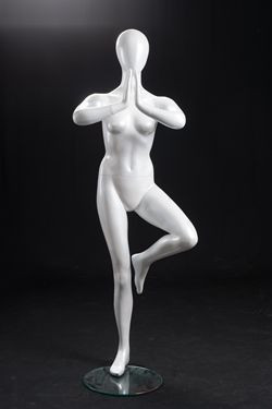 Dee, Gloss White Abstract Yoga Egg Head Female Mannequin MM-YOGA2W