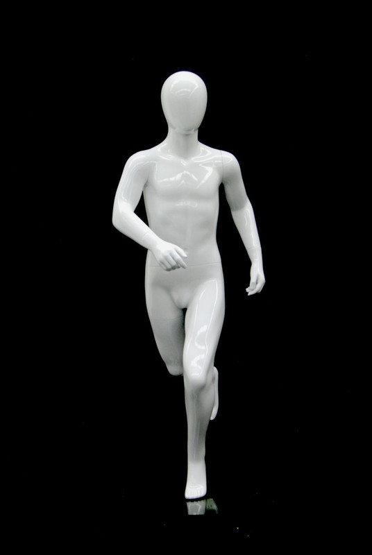 Gloss White Abstract Egg Head Boy Mannequin Running Pose MM-RBT02