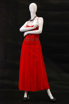 Kourtney, Gloss White Abstract Egg Head Female Mannequin MM-NC6 wearing red dress