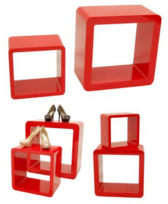 2 Red Display Cube Pedestals MM-SC-CUBE024-16
