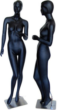 Tabby, Matte Black Abstract Female Mannequin with face features. MM-046
