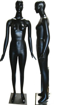 Trinity, Matte Black Abstract Female Mannequin with face features MM-165BK