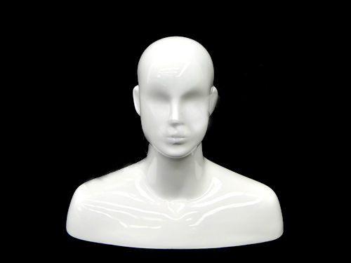 Gloss White Male Display Head with Face Features - MM-MXDGW01