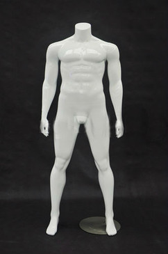 Brad, Fiberglass Plus Size Headless Male Mannequin Glossy White MM-PLUSMANBW