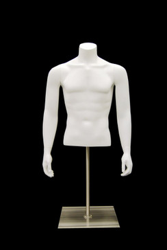 Matte White Male Headless Torso with Counter Top Base MM-EGMSABW