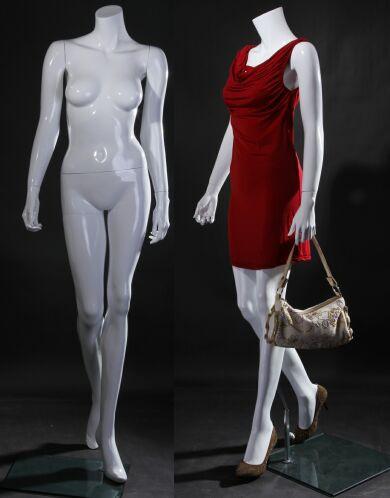 Free Shipping Fiberglass Gloss White Headless Female Mannequin MM-LISA09BW