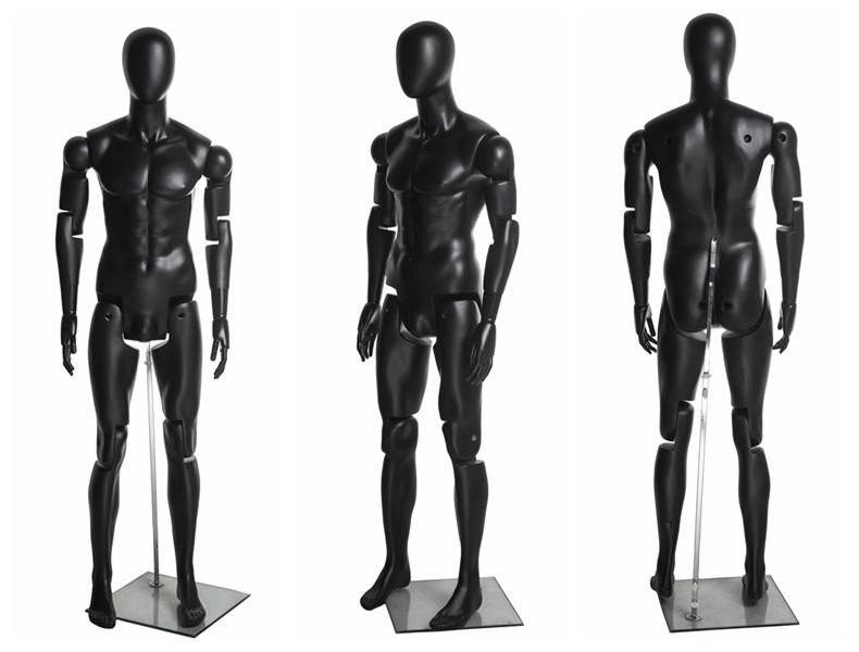 Flexible Articulated Male Mannequin Black MM-HM01BKEG