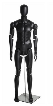 Flexible Articulated Male Mannequin Black MM-HM01BKEG