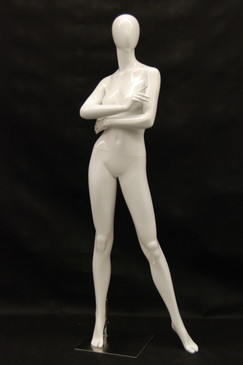 Kourtney, Gloss White Abstract Egg Head Female Mannequin MM-NC6-1