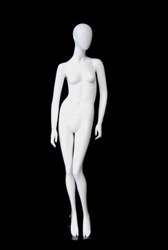 Victoria, Gloss White Abstract Egg Head Female Mannequin MM-AF132W