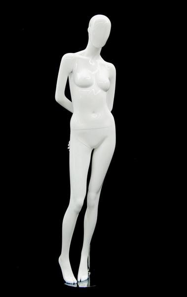Vicky, Gloss White Abstract Egg Head Female Mannequin MM-AF126W