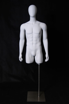 Matte White Male Egg Head Torso with Arms and Base MM-TMWEG