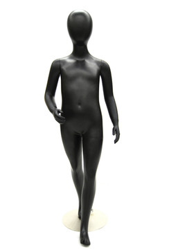 Matte Black Abstract Egg Head Child Mannequin MM-CD05BLK