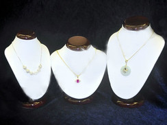 Classic 3 Neck Forms Set, with Wooden Top & Bases. Necklace Stand White PU Leather MM-JW-RW-N1 + N2B + N3B
