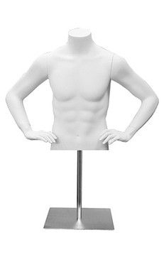 Matte White Male Headless Torso with Counter Top Base MM-MET3W