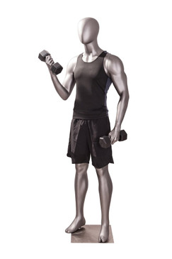 Athletic Matte Grey Egghead Male Mannequin Exercising Pose MM-JSM-4