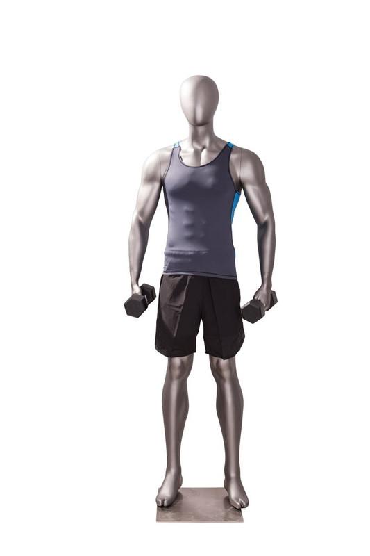 Athletic Matte Grey Egghead Male Mannequin Exercising Pose MM-JSM-3