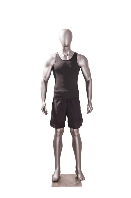 Athletic Matte Grey Egghead Male Mannequin MM-JSM-1