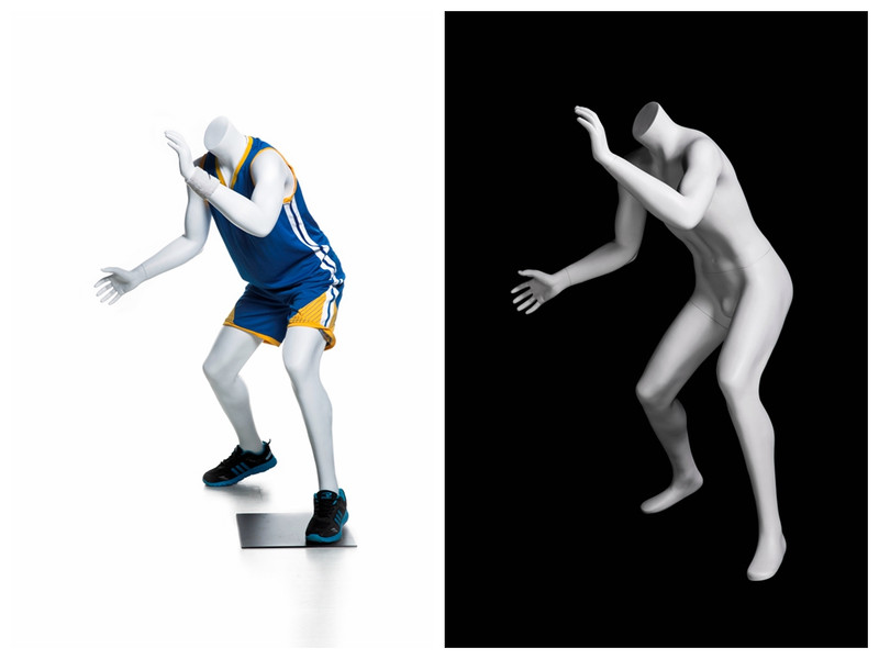 Athletic Matte White Basketball-posing Headless Boy Mannequin MM-KBK01